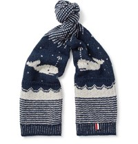 Thom Browne Jacquard Knit Wool And Mohair Blend Scarf Storm Blue