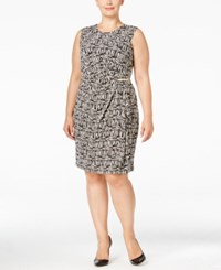 Calvin Klein Plus Size Sleeveless Faux Wrap Dress Latte Soft White Multi