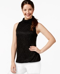 Alfani Prima Metallic Bubble Hem Top Only At Macy's Deep Black