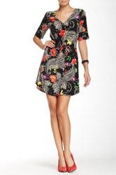 Glam V Neck Floral Dress Black