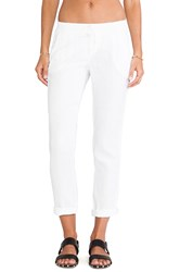 Michael Stars Linen Cuffed Pant With Tuxedo Stripe White