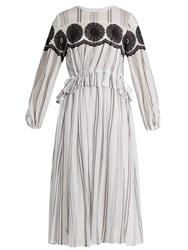 Muveil Floral Embroidered Striped Cotton Dress White Black