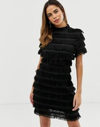 Liquorish Bodycon Mini Dress With Fringe Detail Black