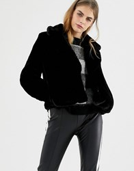 Pull And Bear Pullandbear Plain Fur Jacket With Collar Black