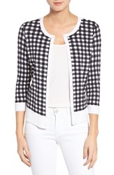 Halogenr Women's Halogen Three Quarter Sleeve Crewneck Cardigan Black White Gingham