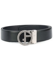 Giorgio Armani Logo Leather Belt Black