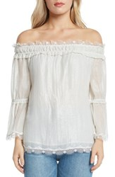 Willow And Clay Lace Trim Foil Off The Shoulder Top Ivory