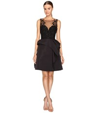 Marchesa Draped Faille Cocktail Dress With Embroidered Bodice Black