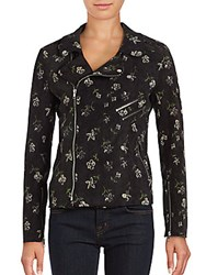 Romeo And Juliet Couture Floral Printed Asymmetric Zipper Jacket Black