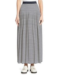 Akris Punto Striped Maxi Skirt Navy Cream