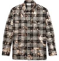 Saint Laurent Oversized Bleached Checked Stretch Cotton Flannel Shirt Black