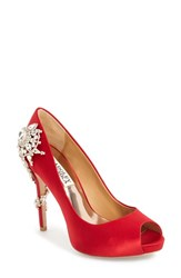 Women's Badgley Mischka 'Royal' Crystal Embellished Peeptoe Pump Red