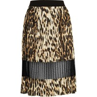 River Island Womens Brown Leopard Print Lace Panel Midi Skirt