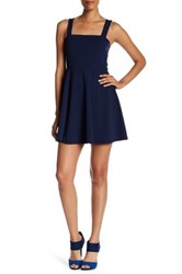 Just Me Bow Cutout Skater Dress Blue