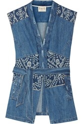Sea Patchwork Printed Denim Vest