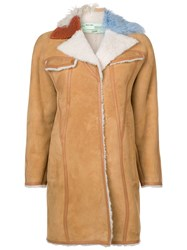Off White Contrast Collar Shearling Coat Nude And Neutrals