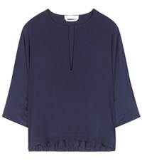 Chloe Silk Batwing Blouse Blue