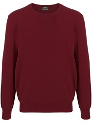 Z Zegna Knitted Jumper Red