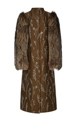 Suno Fur Sleeve Metallic Floral Coat Dark Green