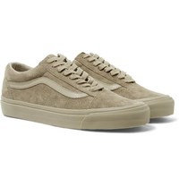 Vans Og Old Skool Lx Leather Trimmed Suede Sneakers Taupe