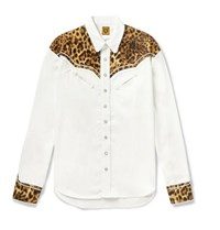 Human Made Panelled Leopard Print Satin And Twill Western Shirt White