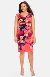 Plus Size Women's Lauren Ralph Lauren Floral Print Cowl Neck Jersey Sheath Dress