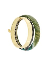 Iosselliani Anubian Age Of Jazz Set Of Bracelets Gold Plated Brass Green