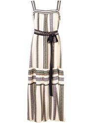 Derek Lam Lace Inset Provincal Striped Tank Dress With Pleated Hem White