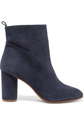 Maje Snake Effect Suede Ankle Boots Storm Blue
