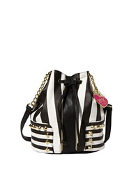 Betsey Johnson Stripe Is The New Black Drawstring Bag Black Stripe