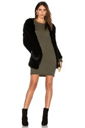 H Brand Huxley Knitted Stretch Rabbit Fur Long Cardigan Black