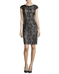 Monique Lhuillier Cap Sleeve Lace Overlay Cocktail Dress Black White
