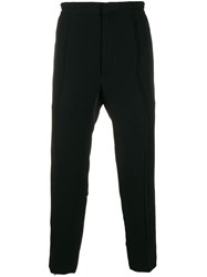 Alexander Mcqueen Contrast Piping Straight Leg Trousers Black