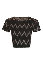 Topshop Zig Zag Crop Top Black