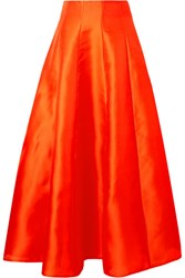 Merchant Archive Hero Pleated Silk Midi Skirt Bright Orange