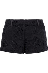 Milly Dickies Broderie Anglaise Cotton Shorts Black