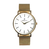 Nibello Watches Gold And White Mens Watch With Mesh Strap