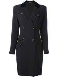 Louis Feraud Vintage Double Breasted Coat Black