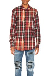 Amiri Spray Plaid Shirt In Red Checkered And Plaid Red Checkered And Plaid
