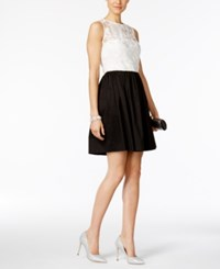 Betsey Johnson Colorblocked Fit And Flare Party Dress Ivory Black