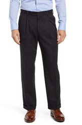 Berle Classic Fit Pleated Microfiber Performance Trousers Black