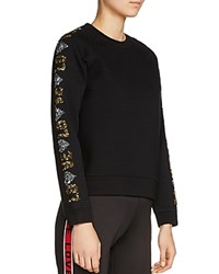 Maje Topaz Love Sequin Sleeve Sweatshirt Black