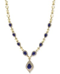 Effy Final Call Sapphire 3 3 4 Ct. T.W. And Diamond 1 1 6 Ct. T.W. Pendant Necklace In 14K Gold Yellow Gold