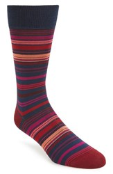 Bugatchi Men's Stripe Socks Ruby