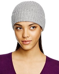 C By Bloomingdale's Cashmere Ribbed Hat Pale Gray