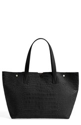 Vince 'Medium' Croc Embossed Leather Tote Black