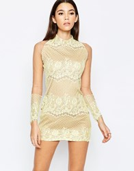 True Decadence Premium Allover Lace Dress With High Neck Yellow