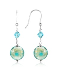 House Of Murano Vortice Turquoise Swirling Murano Glass Bead Earrings