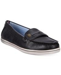 Tommy Hilfiger Women's Butter Penny Loafers Women's Shoes Black Leather
