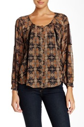Astr Long Sleeve Print Woven Blouse Multi